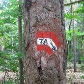 Die Markierung zum Naturphänomen