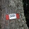 Die Markierung des Wanderweges zum Monte Penegal. Foto: RD, © Peer